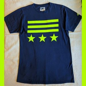 ADIDAS MENS T-SHIRT MEDIUM NAVY BLUE NEON GREEN